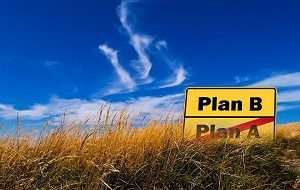 Sign (Plan A and Plan B) with Plan A crossed out.